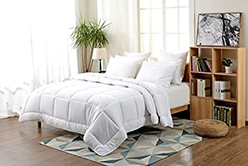 King Comforter Duvet Insert White - Hypoallergenic, Plush Siliconized Fiberfill, Box Stitched Down Alternative Comforter #Exclusive by Fab Linens