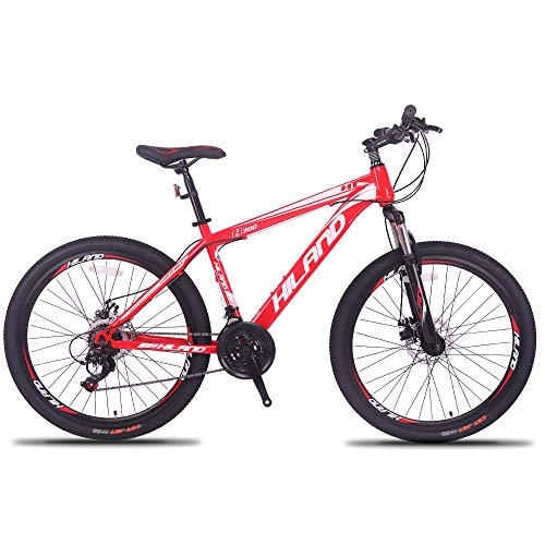 Hiland 26'' Mountain Bike,Shimano 27 Speeds Steel Bicycle, Suspension Fork Urban Commuter City Bicycle, Steel Frame Red