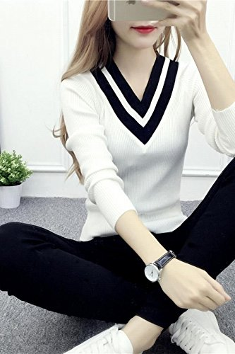fc90c004cf82 Amazon.com   Autumn Korean version new Slim V-neck long-sleeved solid color  rendering short pullover sweater thin female models college wind for women  girl ...