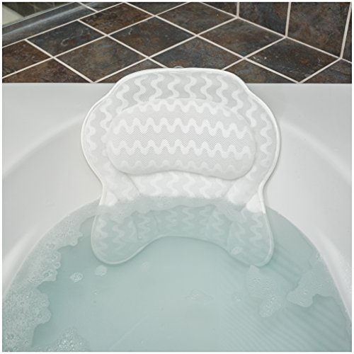 Bath Haven Luxurious Bath Pillow for Women & Men :: Ergonomic Bathtub Cushion for Neck, Head & Shoulders :: With QuiltedAir Mesh for Breathable Comfort :: Includes Wash Bag (Bath Pillow)