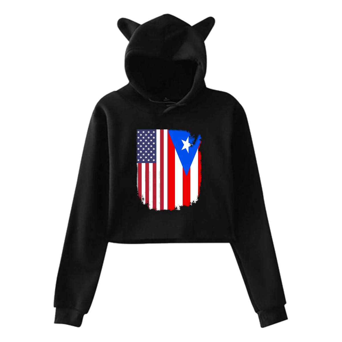 Cute Puerto Rico American Flag Long Sleeve Hooded Pullover S-XXL Womens Cat Ear Crop Top Pullover Hoodie
