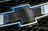 """VVIVID Black Satin Chrome Auto Emblem Vinyl Wrap Overlay Cut-Your-Own Decal for Chevy Bowtie Grill, Rear Logo DIY Easy to Install 11.80"""" x 4"""" Sheets (x2)"""