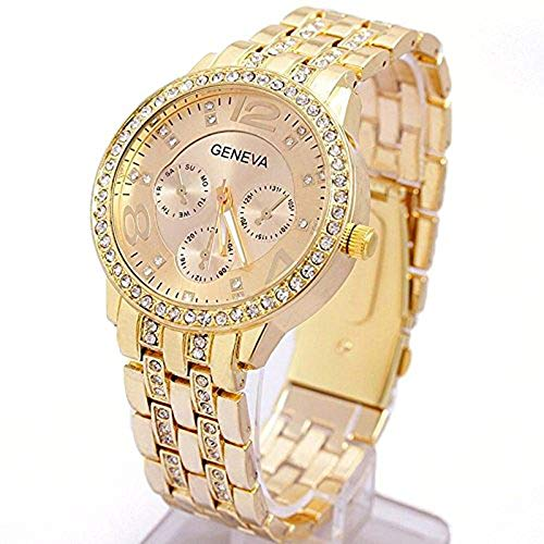 Quartz Wrist Watch, Unisex Bling Crystal Quartz Leisure Wrist Watch / Luxury Geneva Alloy Band Classic Round Leisure Watches with a Button Battery (Gold) - Happy Hours