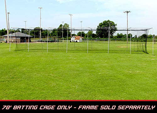 Backstop Portable Cage (Cimarron Sports 70' x 12' x 12' Twisted Knotted Twine Poly Batting Cage Net with 4 x 6 Vinyl Backstop)