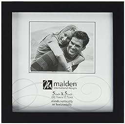 Malden International Designs Black Concept Wood Picture Frame, Double Vertical, 2-5x7, Black