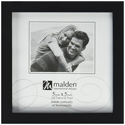 Malden International Designs Black Concept Wood Picture Frame, 5x5, Black