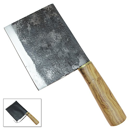 Handmade High Carbon Steel Kitchen Meat Cleaver Cutlery Tool Hardwood Handle