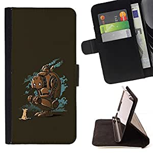 DEVIL CASE - FOR Apple Iphone 5 / 5S - Funny Robot - Style PU Leather Case Wallet Flip Stand Flap Closure Cover