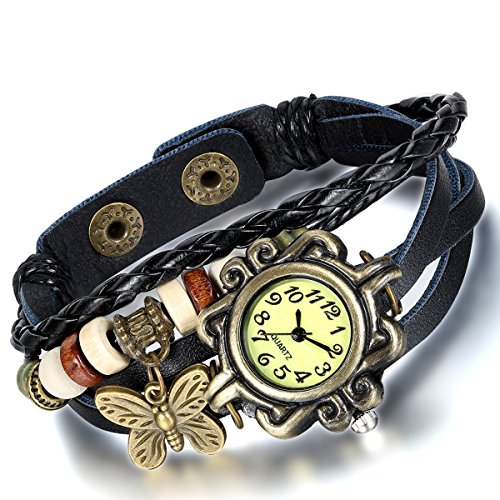 Women's Black Braided Leather Strap Watch - 2