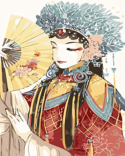 LANCHIH [Frameless] DIY Oil Canvas Painting for Adults Kids, Paint by Numbers Kit, 16x20 inch with Brushes and Acrylic Pigment, Peking Opera - $10.99
