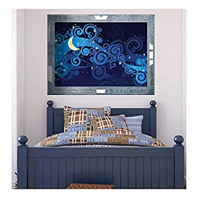Wonderful Design, Science Fiction ViewPort Decal An illustrated View of the Moon and Stars Wall Mural, Top Quality Design