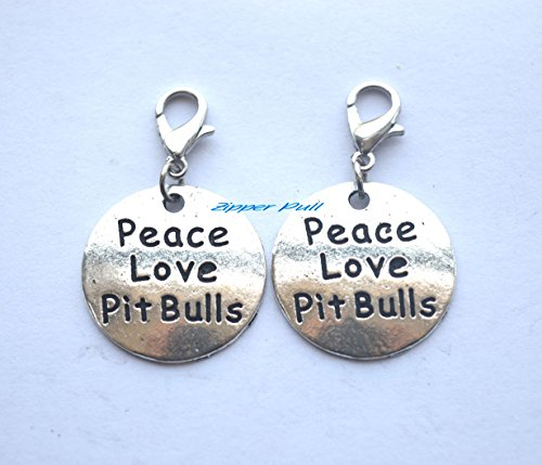 Peace Love Pit Bulls Zipper Charm,Zipper Pull Purse Charm Clip On Charms,Lobster Claw Charm for Link Bracelets and Necklaces, Clip on Charm,Backpack Charm, Zipper Charm
