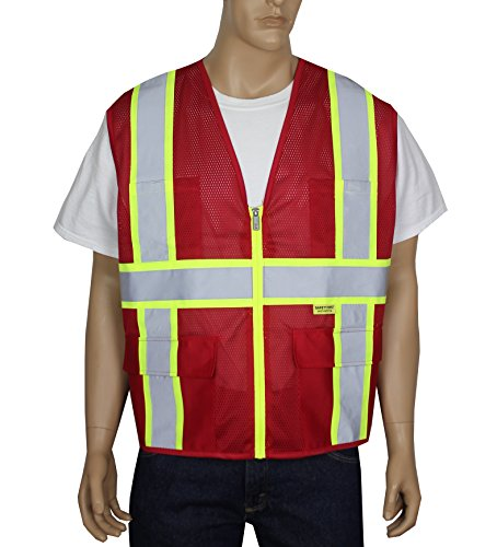 (Safety Depot Breathable Safety Vest Multiple Colors Available, 4 Lower Pockets, 2 Chest Pockets with Pen Divider & High Visibility Reflective Tape MP40 (Mesh Red, Extra Large))
