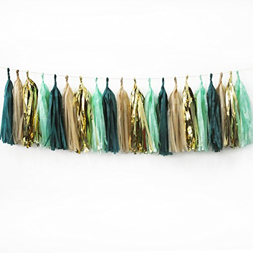 - NICROLANDEE 20Pcs Wedding Party Tassel Sage Green Champagne Gold and Teal Tassel Garland for Rustic Style Bridal Shower Baby Shower Spring Decor Birthday Eucalyptus Neutral Decorations (Green)