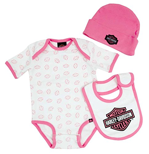 Harley-Davidson Baby Girl's Creeper Gift Box Set, Bar & Shield Logos 3000401 Pink