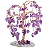 TUMBEELLUWA Healing Natural Crystal Money Tree with Agate Slices Base Polishing Tumbled Gemstones Tree Bonsai Feng Shui Decor for Luck and Wealth, Amethyst