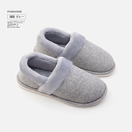 Chaussures Un peluche Slipper Femmes Padded chauds paragraphe Cotton light d'hiver Hommes LaxBa antiglisse grey intérieur Chaussons w71gxvF