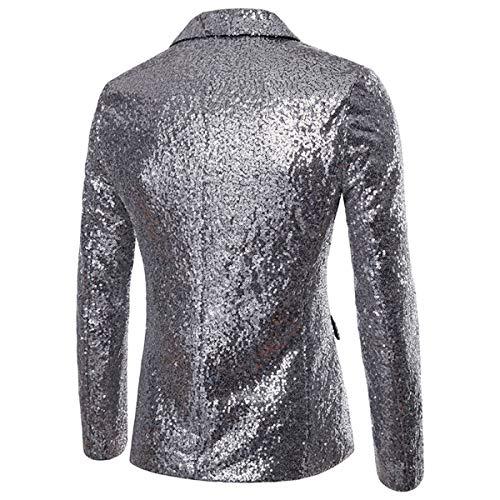 Slim Costume Notch Pour Lapel Homme Shiny Argent Veste Vestes Fit De Smoking Luxe 18xx64