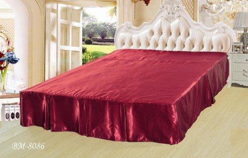 Dada Bedding Quinceanera Satin Bed Skirt Queen Red