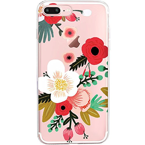 Case,Flyeri Crystal Fashion Floral Pattern Transparent Clear Soft silicone TPU Ultra thin Phone cover back cases For apple iPhone 7 Plus&8 Plus (5) ()