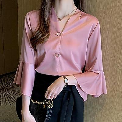 SilCsQB Moda Mujer Blusas de Seda Elegante Mujer Blusa de satén Camisas Tallas Grandes Mujer Blusas de Manga Mariposa Camisa OL con Cuello en V XXL L Albaricoque: Amazon.es: Deportes y aire