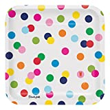 polka dot party supplies - French Bull Birthday Dots- 9-Inch Square Dinner Plate, 10-Count