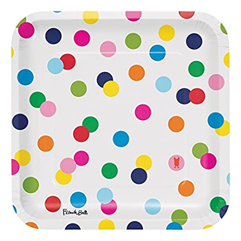 French Bull Birthday Dots- 9-Inch Square Dinner Plate, 10-Count
