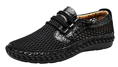 Louechy Men's Notus Mesh Breathable Walking Loafers Casual Hiking Shoes 8701-47 Black