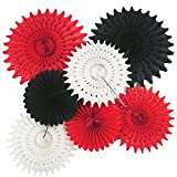 Red Black and White Party Decorations 7pcs Tissue Paper Fans for Minnie Mouse Theme Birthday Party Decorations/Mickey Mouse Party Supplies Baby Shower