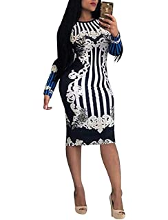 43d677a33eb Dress for Women Elegant Long Sleeve - Stretchy African Floral Bodycon Midi  Dress
