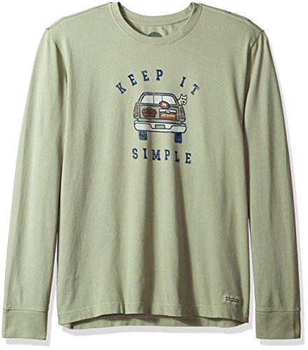 Life is good Men's Crusher Long Sleeve Simple Tailgate T-Shirt, Dusty Green, X-Large (Life Is Good Sleeve Long)