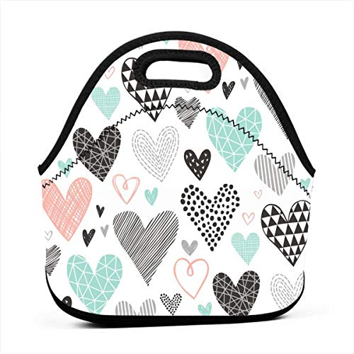 Hearts Geometrical Love Valentine Blacku0026White Mint Peach_421 Waterproof Insulated Lunch Portable Carry Tote Picnic Storage Bag Lunch box Food Bag Gourmet Handbag For School Office