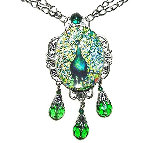 GREEN PEACOCK BIRD Necklace SILVER Pltd with Glass Drops Stained Glass Feather Illustration Image Altered Art