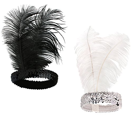 BABEYOND Roaring 20's Sequined Showgirl Flapper Headband Black with Feather Plume (Black+White)