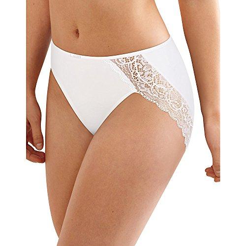 - Bali Women's Lace Desire Microfiber Hi Cut, White, 7