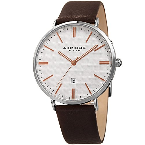 Akribos XXIV Men's Slim Classic Watch AKN935SSRG - Pattern Etched Dial with a Comfortable Supple Genuine Leather Strap - Silver and Rose Gold (Silver/Rose (Automatic Brown Dial Watch)