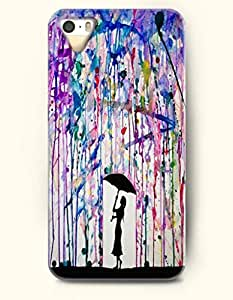 iPhone 5/5S Case, OOFIT Phone Cover Series for Apple iPhone 5 5S Case (DOESN'T FIT iPhone 5C)-- A Girl In Colorful Rain -- Rainbow Color Series wangjiang maoyi