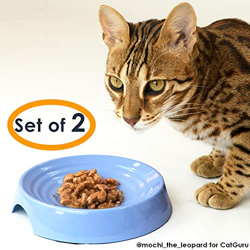 CatGuru New Premium Whisker Stress Free Cat Food Bowls, Cat Food Dish. Provides Whisker Stress Relief and Prevents Overfeeding! (Round - Set of 2 Bowls, Atlantis)
