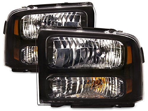 HEADLIGHTSDEPOT Black Housing Halogen Headlights Compatible with Ford Excursion F-250 Super Duty F-350 F-450 F-550 Includes Left Driver and Right Passenger Side Headlamps