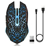 ZTTOC Rechargeable Wireless Gaming Mouse for Mac, Laptop, Notebook, Quiet Computer Wireless Mouse with 7 Colorful Breathing LEDs, Unique Silent Click,3 Adjustable DPI and 7 Buttons (Blue Light)