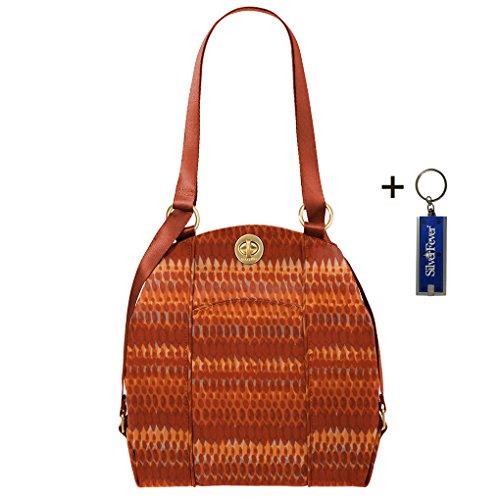 Baggalini Mendoza Handbag -Backpack or Shoulder Purse Convertible Bundle w Key Chain Purse Light (Flame Print)