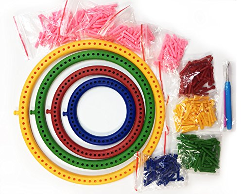 Set of 4 Round Plastic Knitting Looms with Removable Pegs, for Hats, Bags, Socks, Legwarmers, Wristwarmers, Cowls, and Scarves by Yarn Designers Boutique