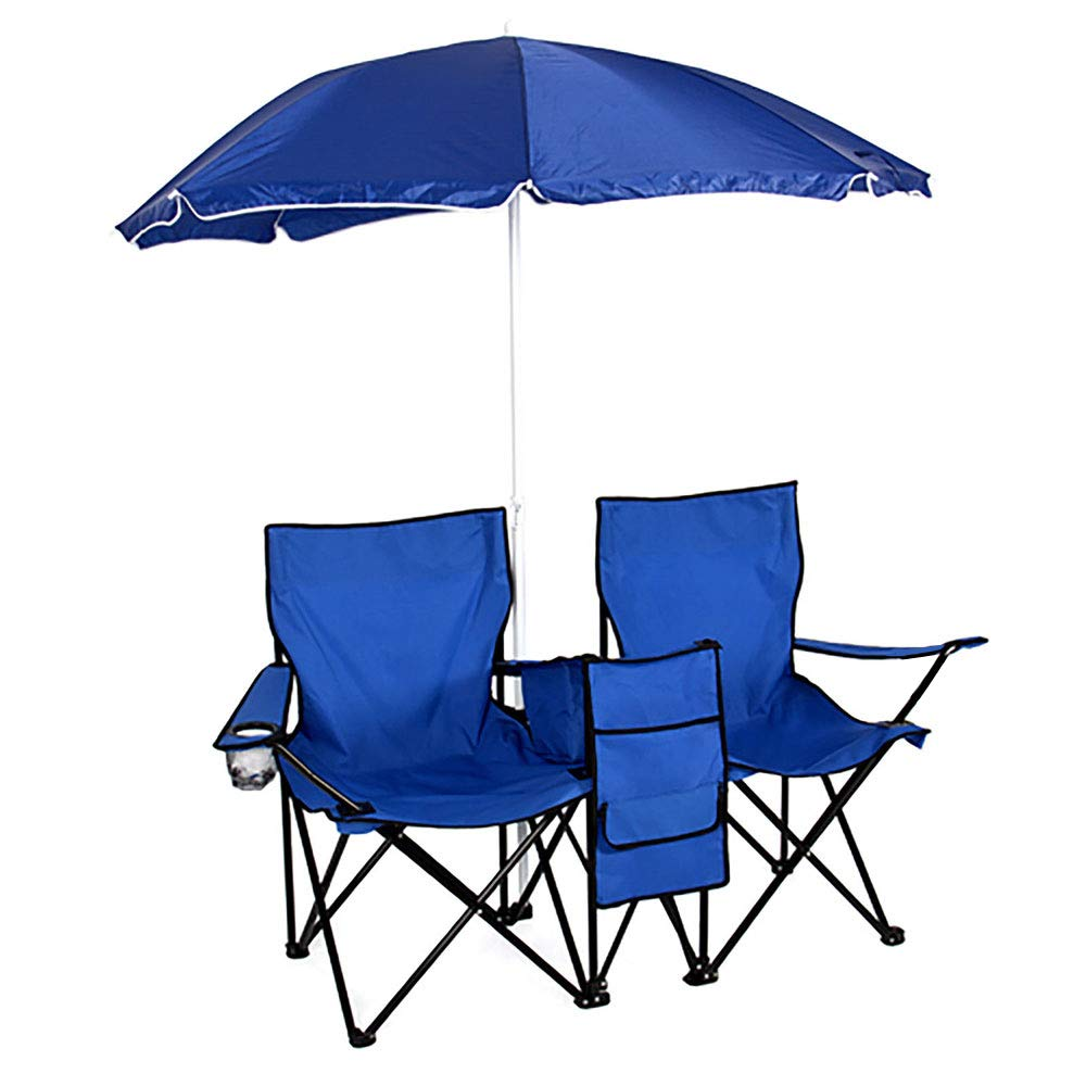 Lovinland Folding Chair 2 Pcs Camping Chair with Cooler and Umbrella Fold Up Dual Seat Chair for Beach Picnic Fishing