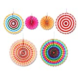 Party Hanging Paper Fans Set-Colorful Round Pattern Paper Garlands Decoration for Mexican Fiesta Carnival Birthday Wedding Graduation Events Accessories Home Decor Supplies Flavor