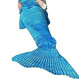 Mermaid Tail Blanket Crochet, NOT HOME® Super Soft Mermaid Blanket, Knitted Blankie Tails, All Seasons Cozy Sleeping Bags, 35.5*71.0inch (Blue)