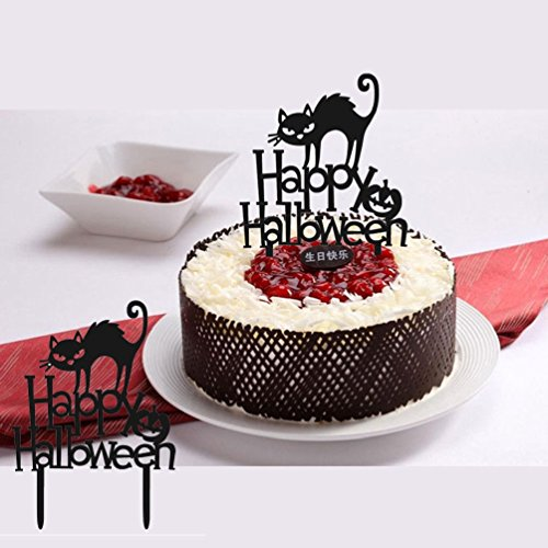 6pc Happy Halloween Cake Topper Decorative For Halloween Party Cake (Acrylic Scrapbooking Tags)