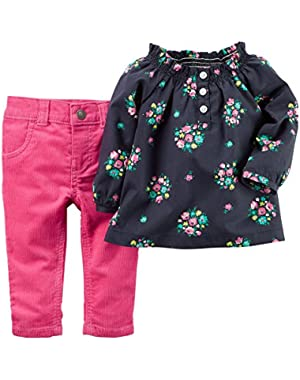 Girl L/s 2-piece Floral Top & Pink Corduroy Pants Set
