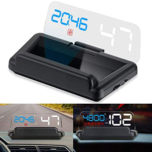 (Car HUD Display, iKiKin Head Up Display OBD2 HUD with Reflection Board Stereo Projecting Display Speed RPM Voltage Car Digital Speedometer C500)