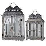 A&B Home D42232 Silver Scape Lanters (Set of 2)