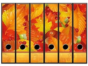 Pegatinas para archivadores con diseño de hojas de otoño – Formato 65 x 300 mm,